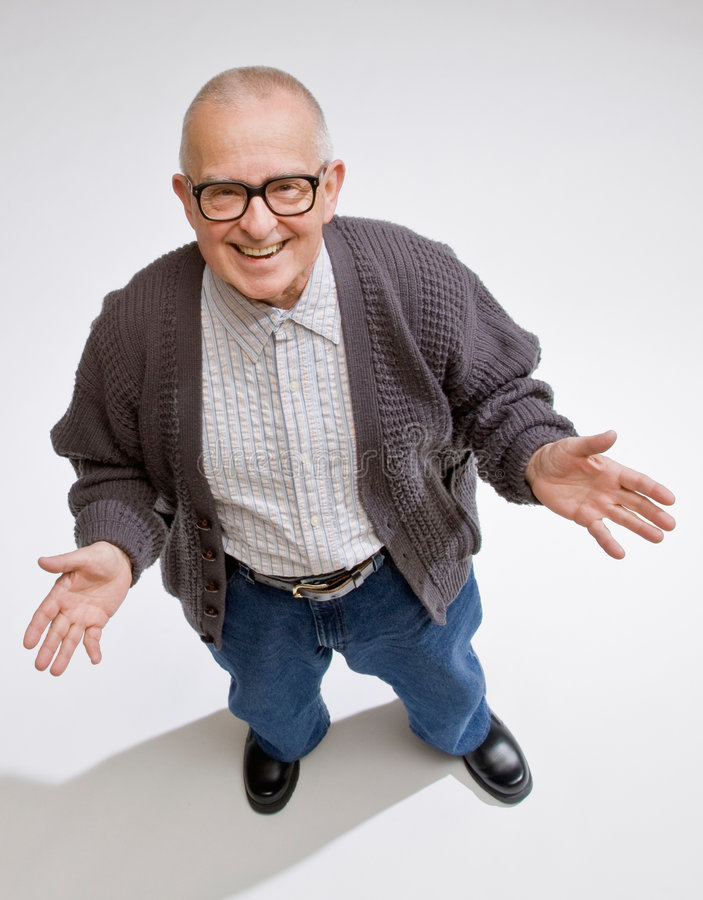 Confident man gesturing in friendly way. Happy, confident man gesturing in friendly way royalty free stock photo