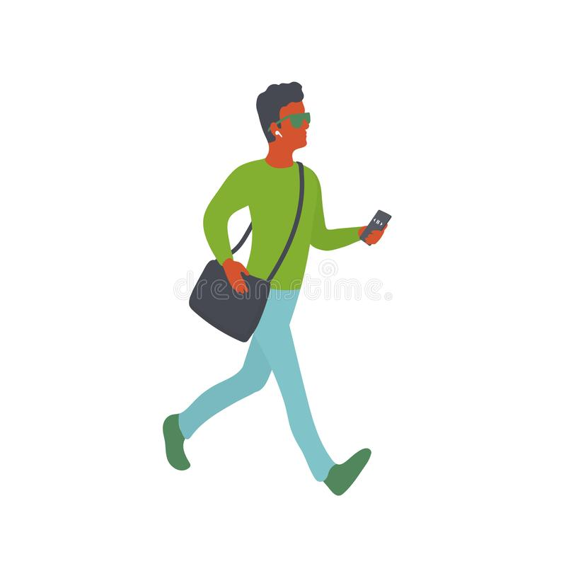 Confident man walks and listening music on smartphone in wireless headphones stock illustration