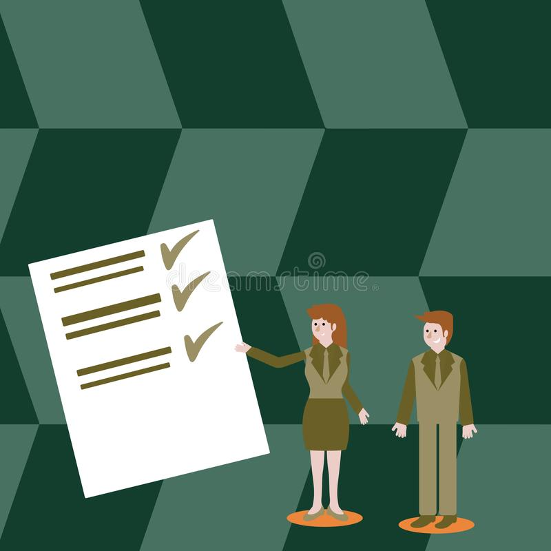 Confident Man and Woman in Business Suit Standing, Gesturing and Presenting Data Report on Color Board. Creative stock illustration