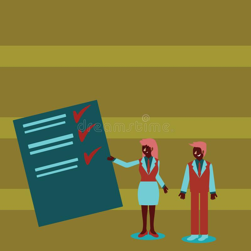 Confident Man and Woman in Business Suit Standing, Gesturing and Presenting Data Report on Color Board. Creative royalty free illustration