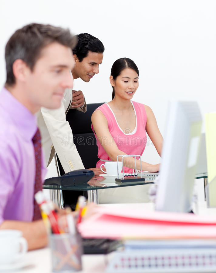 Confident Manager Checking His Employee S Work Royalty Free Stock Photography