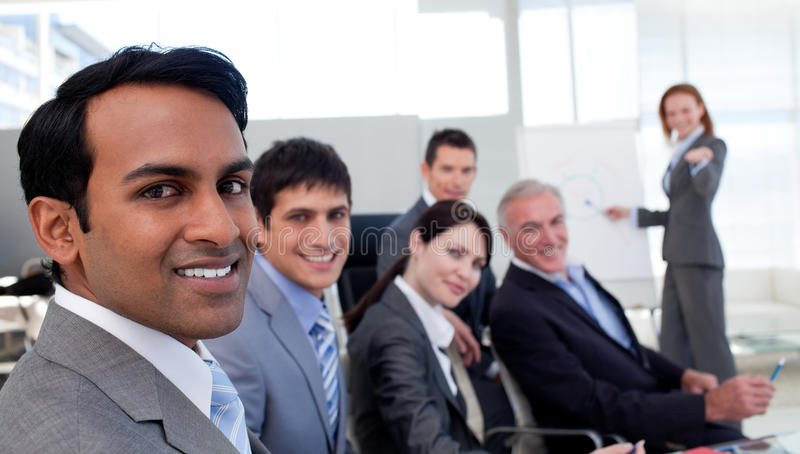 Download Confident Manager Discussing A New Strategy Stock Image - Image of confident, office: 12054275