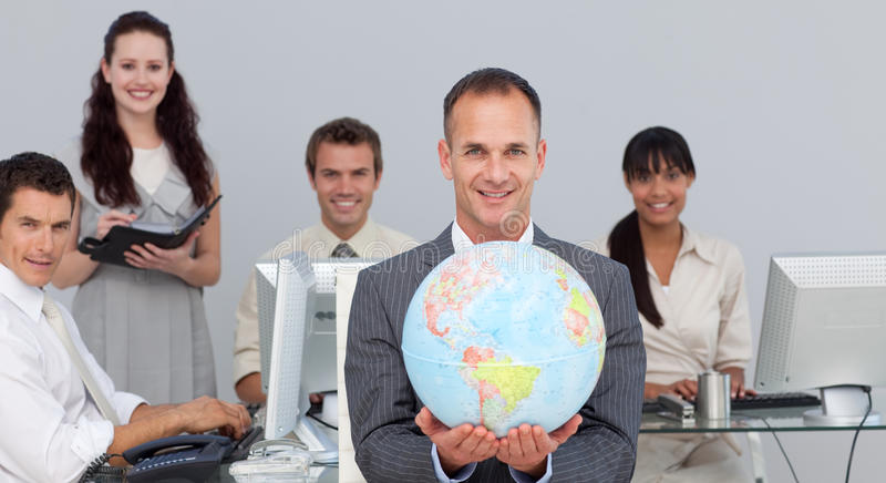 Confident manager showing South America stock images