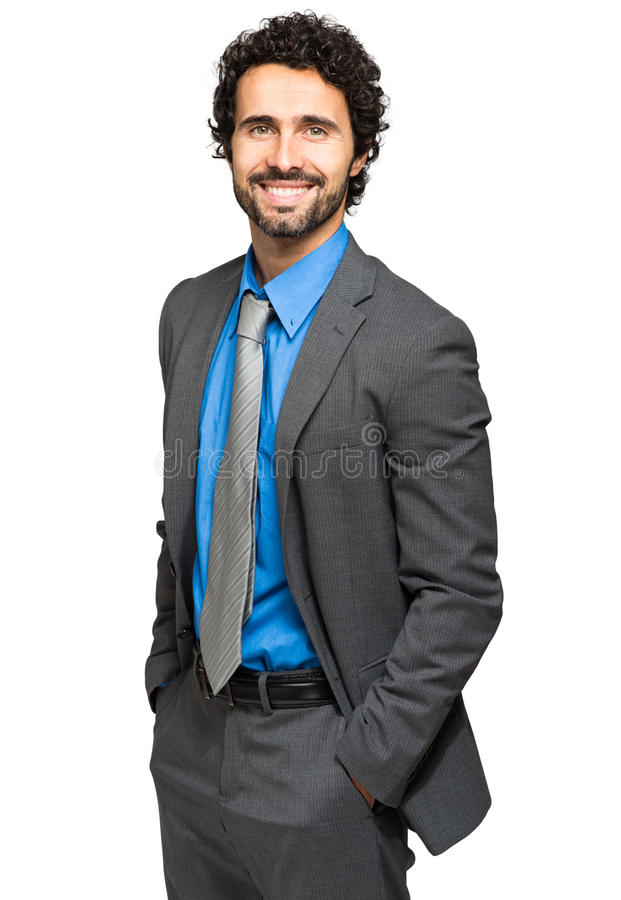 Confident manager on white background stock photo