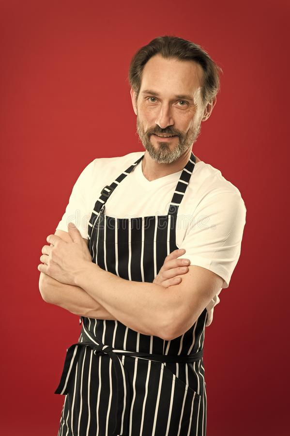 Confident mature handsome man in apron red background. He might be baker gardener chef or cleaner. Good in everything. Multitasking and professional occupation stock images