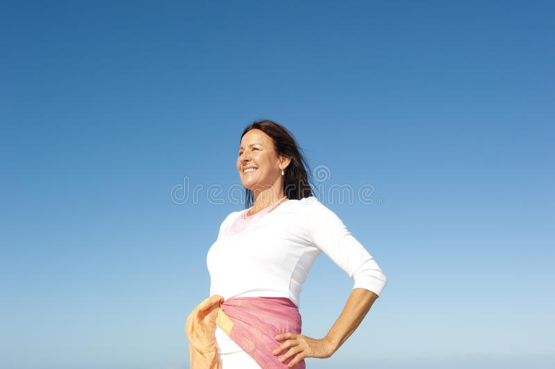 Confident Mature Woman Sky Background Stock Images