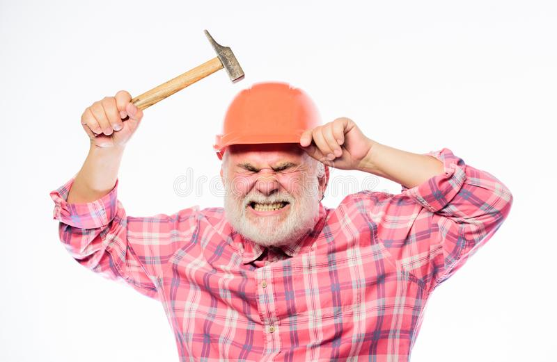 Confident mechanic. architect repair and fix. engineer worker. professional repairman in helmet. mature bearded man in royalty free stock photos