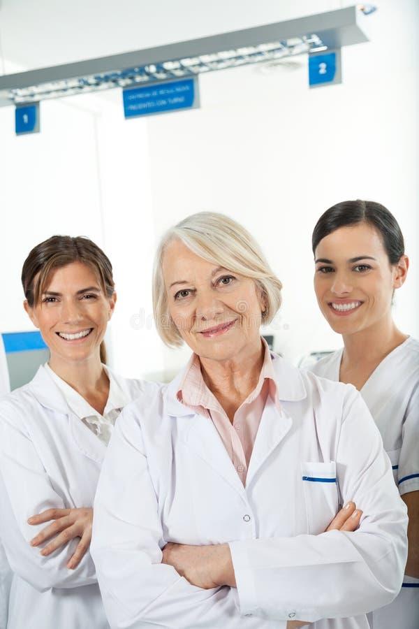 Confident Medical Team. Portrait of confident medical team in laboratory stock photo