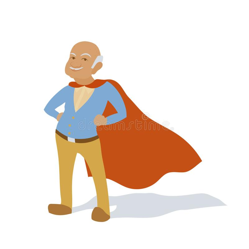 Confident old man grandfather as superhero character. Senior citizen in super hero cape. Vector flat cartoon. Illustration isolated on white background stock illustration