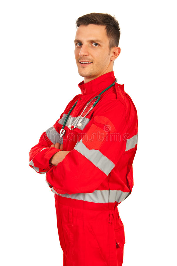 Confident paramedic man. With arms folded isolated on white background stock photography