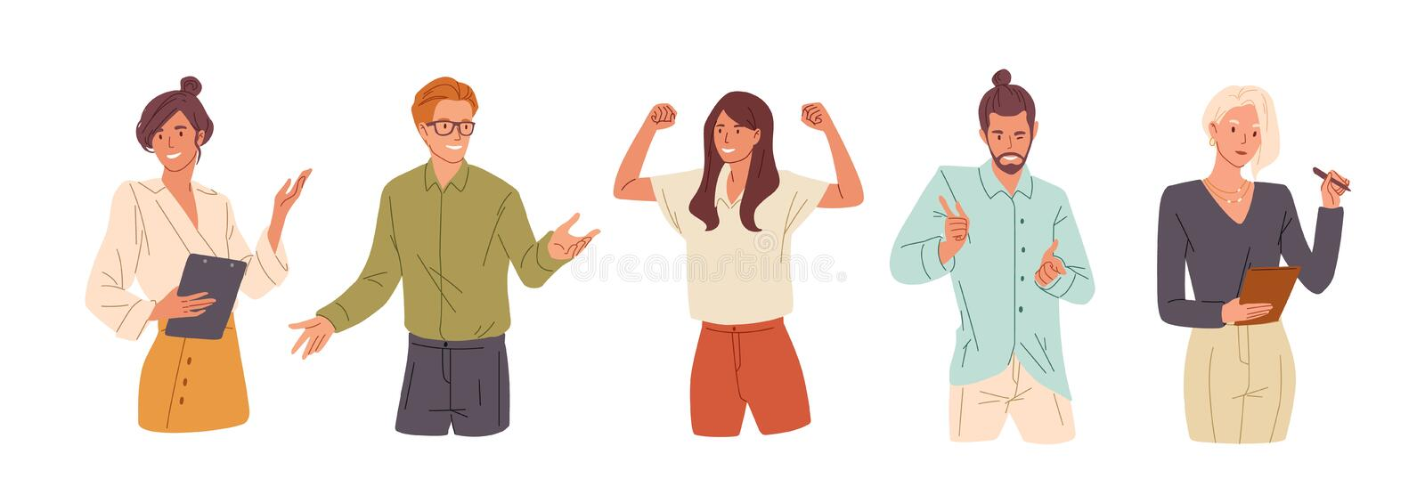 Confident people flat vector illustrations set. Presentation woman, college student and successful businesswoman. Girl. Celebrating victory, flirting man royalty free illustration