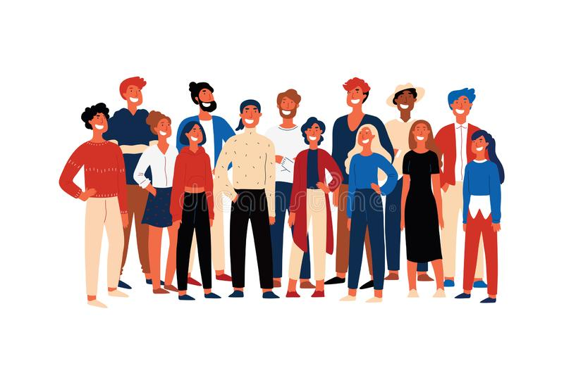 Confident people, student society members, cheerful volunteers standing together, smiling young men. Happy activists, multiethnic group concept cartoon sketch stock illustration
