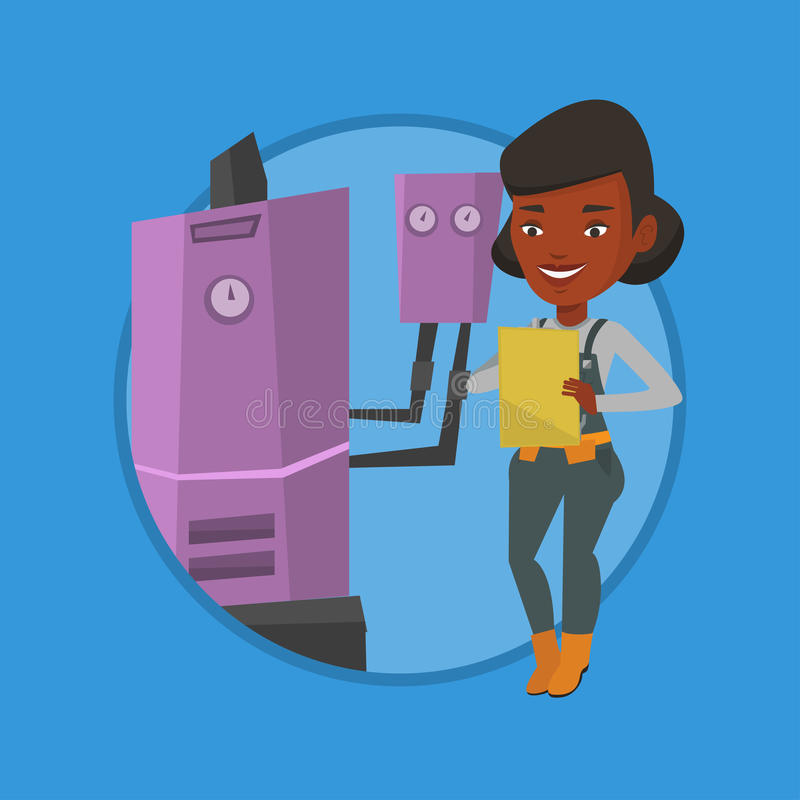 Confident plumber with clipboard. African plumber making some notes in clipboard. Plumber inspecting heating system in boiler room. Plumber in overalls at work vector illustration