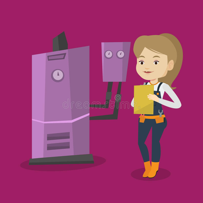 Confident plumber with clipboard. Female caucasian plumber making some notes in her clipboard. Plumber inspecting heating system in boiler room. Female plumber royalty free illustration