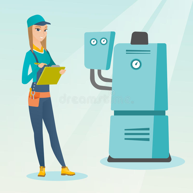 Confident plumber with clipboard. Female caucasian plumber making some notes in her clipboard. Plumber inspecting heating system in boiler room. Female plumber vector illustration