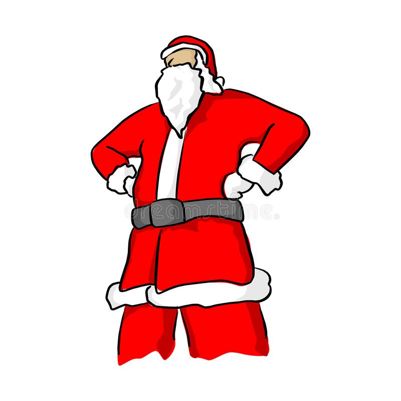 Confident santa claus posing with arms akimbo vector illustration sketch doodle hand drawn with black lines isolated on white. Background vector illustration