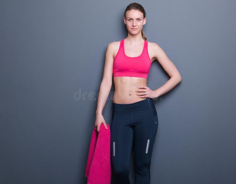 Confident slim athletic woman stock photography