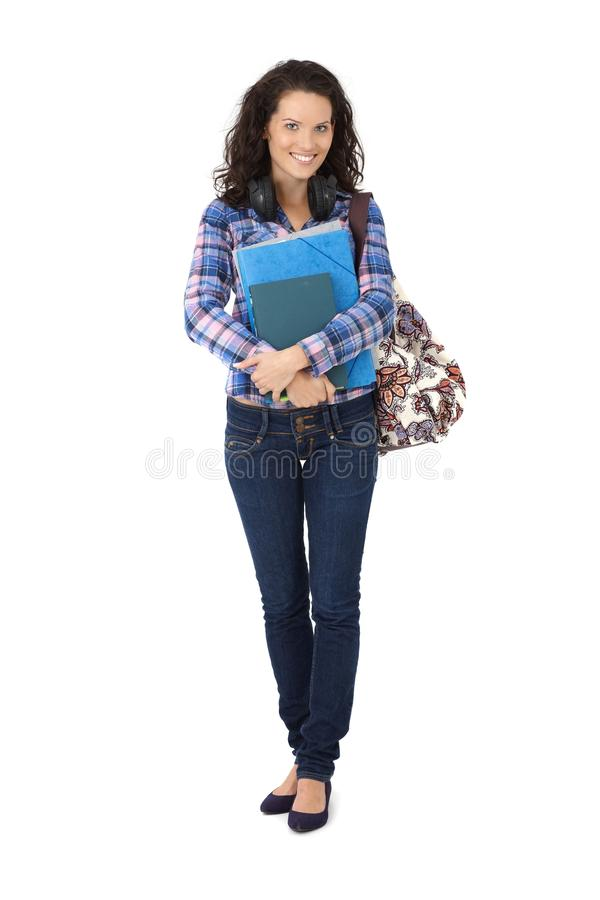 Confident smiling university student stock image
