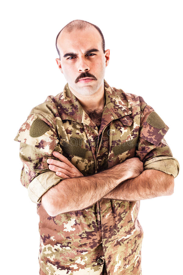 Confident soldier stock photo