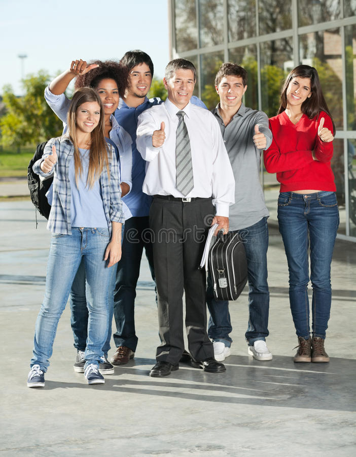 Confident Students And Professor Gesturing