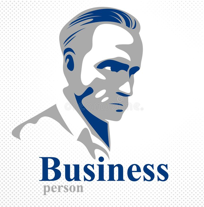 Confident successful businessman handsome man business person vector logo or illustration realistic drawing vector illustration