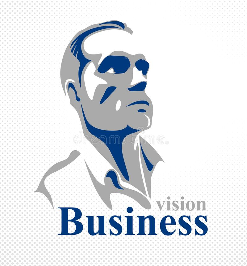 Confident successful businessman handsome man business person vector logo vector illustration