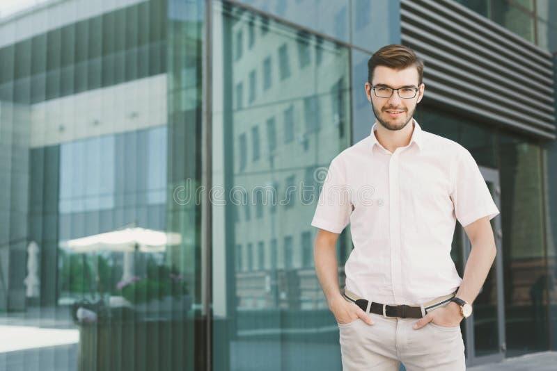 Portrait of confident young stylish businessman stock photo