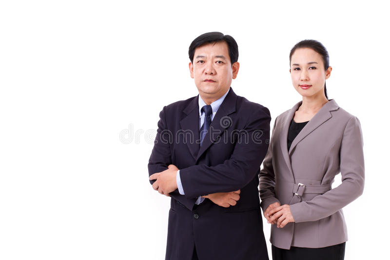 Confident, successful pair of senior managers royalty free stock photo
