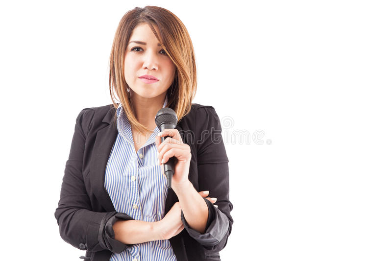 Confident and successful presenter royalty free stock image