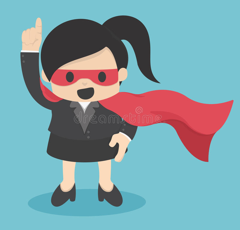 Confident Super Business woman hero royalty free illustration