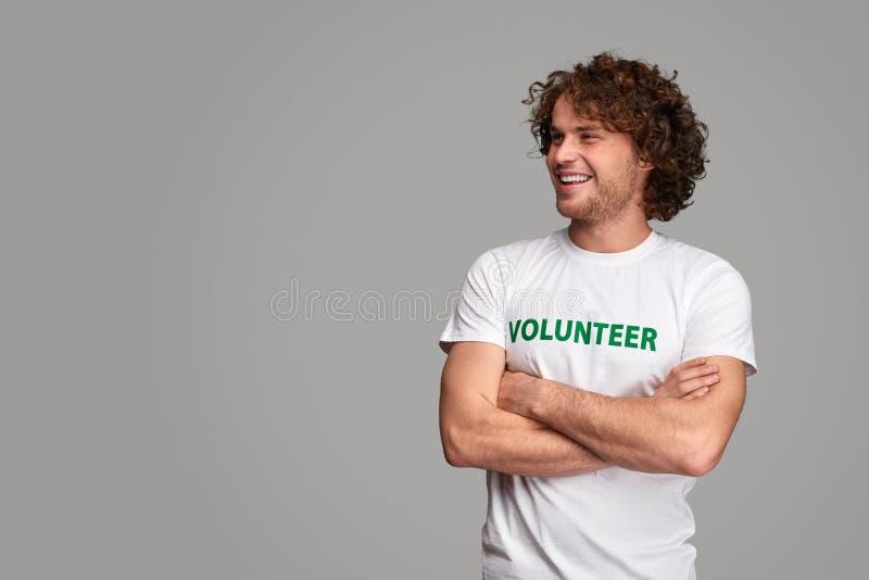 Confident volunteer looking away stock photography