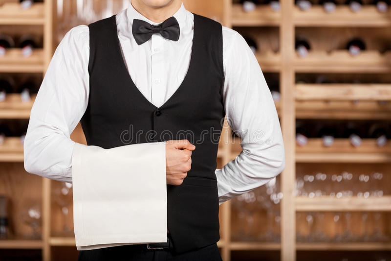 Confident waiter. royalty free stock photo