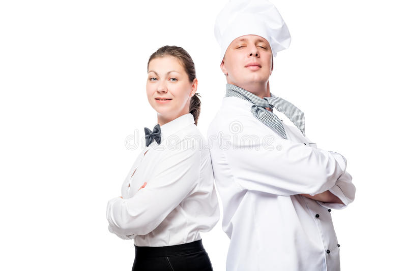confident waitress and chef on white background portrait royalty free stock image