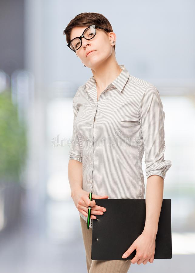 confident woman in glasses royalty free stock images
