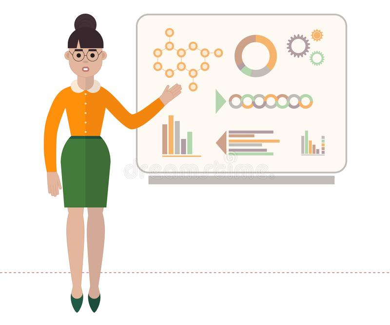 Confident woman in glasses is showing presentation with diagrams on board. Flat style business vector illustration. Isolated on white background stock illustration