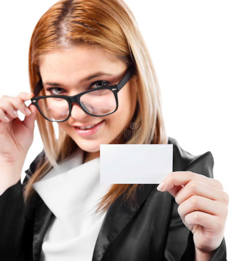 Confident woman holding empty business card royalty free stock image