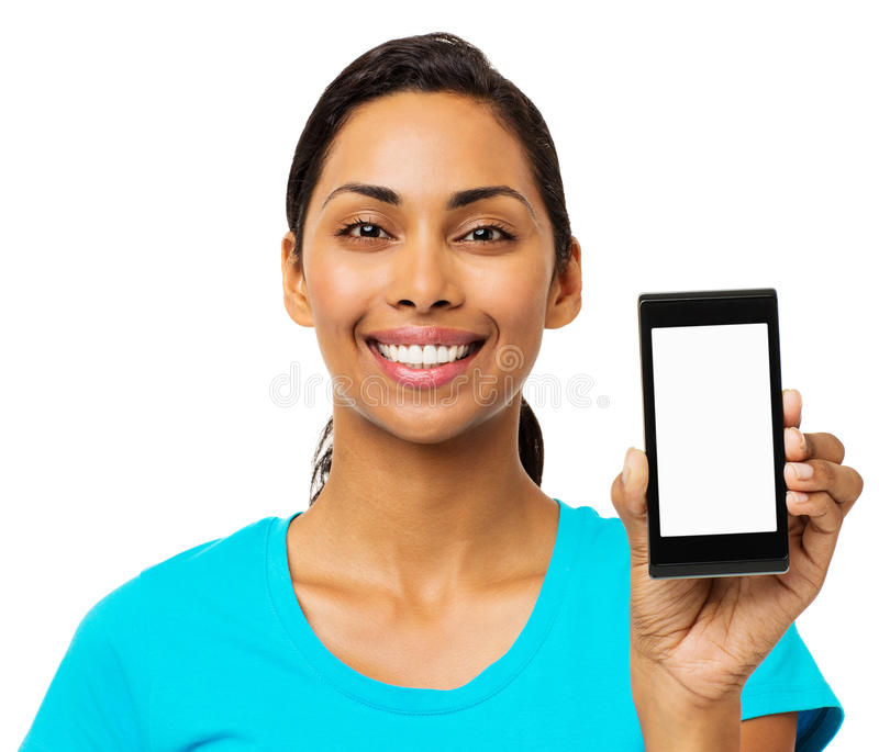 Confident Woman Showing Smart Phone stock photo