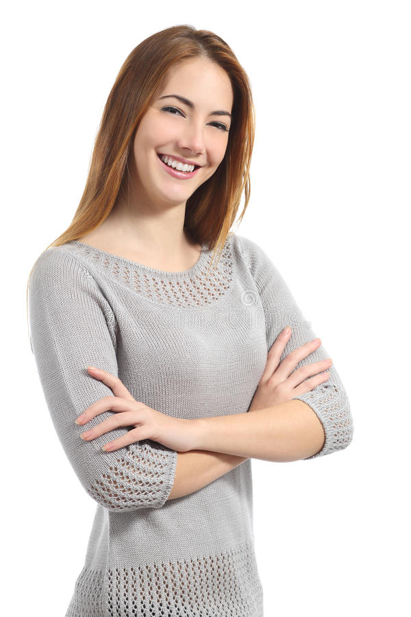 Confident woman with white smile standing with folded arms stock image