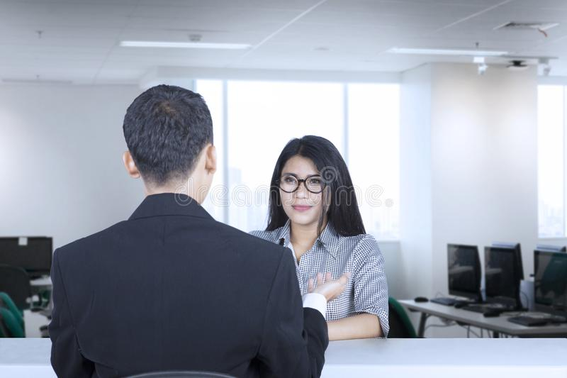 Confident woman at job interview royalty free stock photos