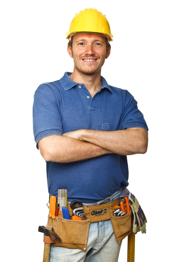 Confident worker on white royalty free stock image