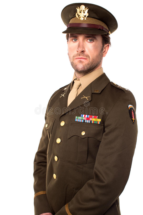 Confident young army man. Young army man looking at you royalty free stock image