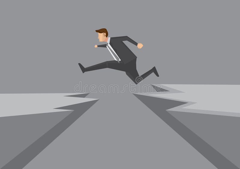 Confident Young Businessman Leaps Across Dangerous Cliff Vector vector illustration
