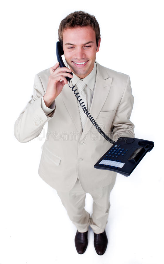 Confident Young Businessman Talking On Phone Stock Image