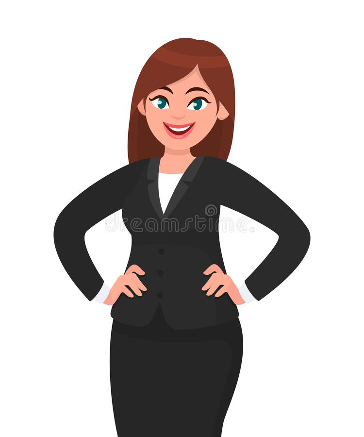 Confident young businesswoman in black formal suit holding hands on hips and smiling while standing isolated white background. Businesswoman concept royalty free illustration
