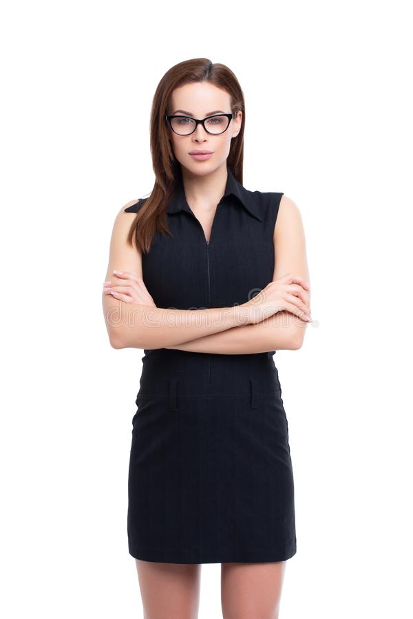 Confident young businesswoman isolated on white stock photography