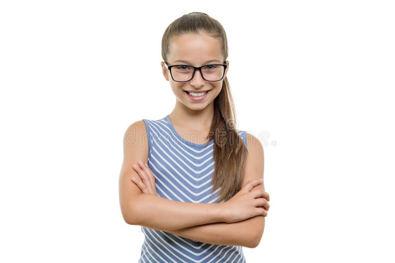 Confident young girl student in glasses with arms crossed smiling on white background, isolated stock photos