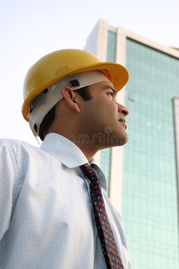 Download Confident Young Indian Engineer Looking Up Stock Image - Image of aspiration, construction: 14339687