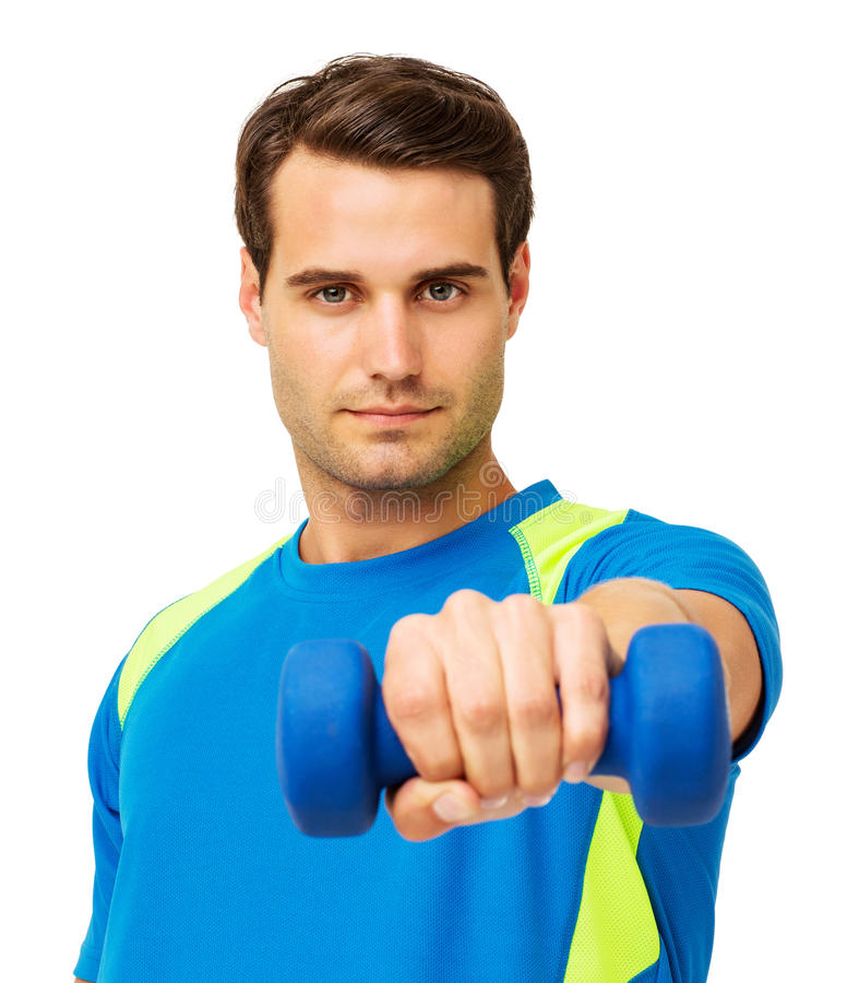 Confident Young Man Lifting Dumbbell stock photos