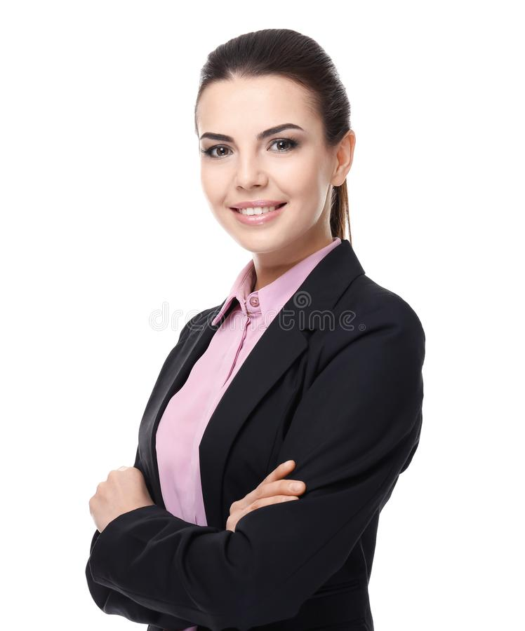 Confident young manager on background stock photography