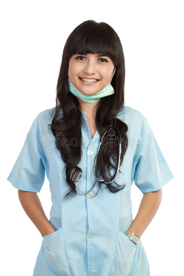 Confident young medical nurse stock photo